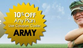 10% off any plan.  Use Coupon Code: ARMY